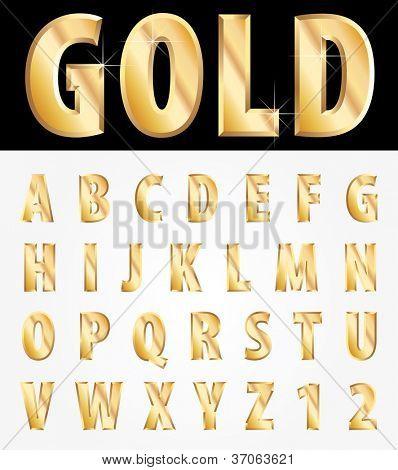 vector 3d golden alphabet