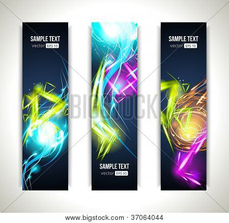 Set of Vector Labels. Colorful Banners and Abstract Headers with Shadows.