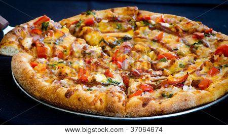 Pizza de frango de churrasco