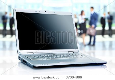 thin laptop on office desk