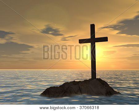 Konzept oder konzeptionelle dunkle Christian cross stehend auf einem Felsen im Meer oder Ozean über eine schöne s