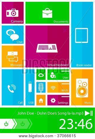 Interfaz de usuario móvil moderno. Color brillantes plazas con iconos