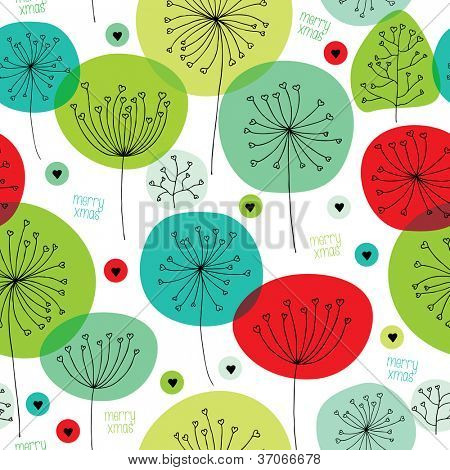 Retro floral nature love christmas background pattern in vector