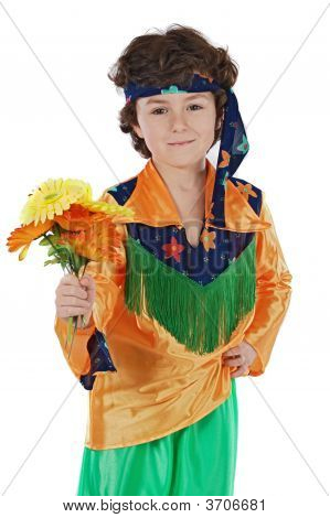 Adorable Child Hippie Offering Flowers
