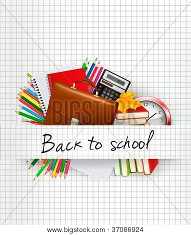 School supplies on a paper. Education background. Vector.