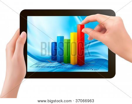 Tablet screen with graph and a hand. Vector.