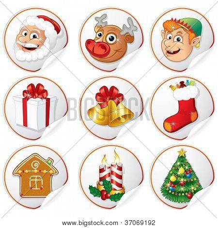 Pegatinas con personajes de Navidad. Papá Noel, pino, Elf, regalo, campanas etc....