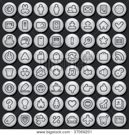 Black and White Media Buttons. Vector Icon Set