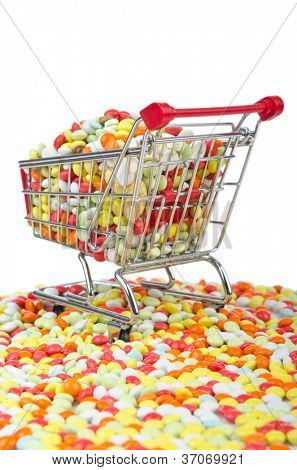Shopping cart with many colourful pills