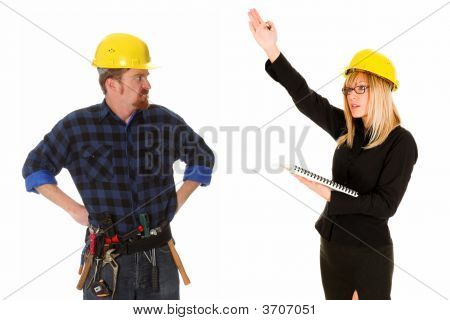 Quarreling Between Angry Businesswoman And Construction Worker