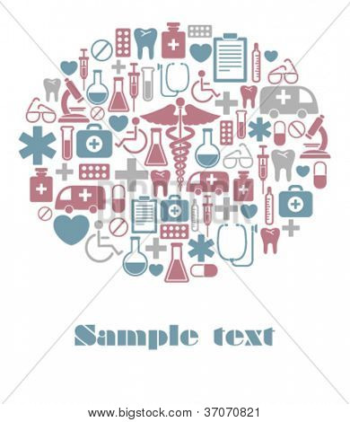 vector card with medical icons