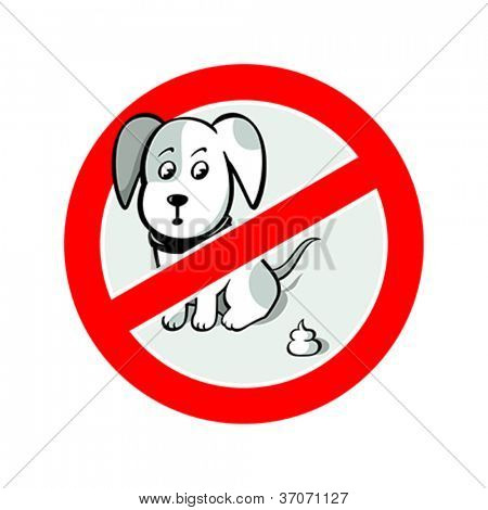 """No dog's pooh"" sign isolated over white"