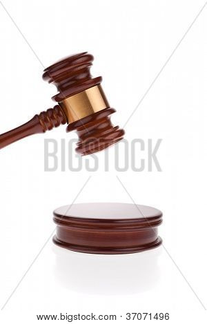 a judge or auction hammer hammer. isolated against white background.