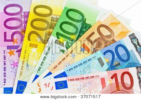 euro money banknotes of the european union. a fan made of euro money isolated against white background.