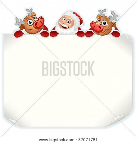 Santa Claus Holding Sign. Background with Space for Your Text