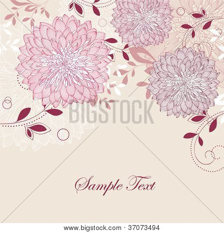 Hand-drawing floral background with flower chrysanthemum. Element for design. Vector illustration.