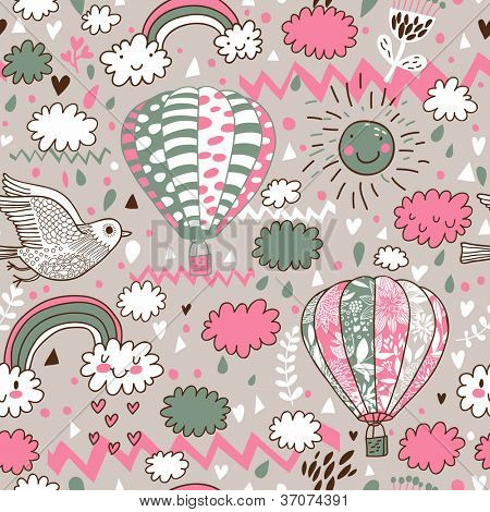 Cartoon seamless pattern with nasty weather in children style. Vector background for kids in pastel colors