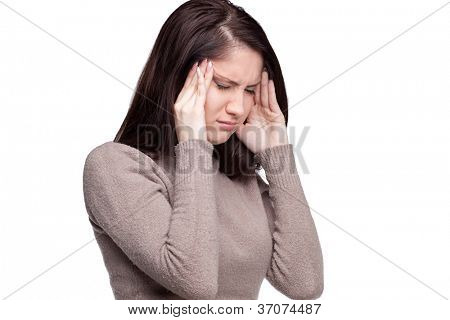 Unhappy young woman with bad headache on white background.  Awful migraine