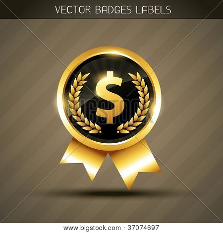 vector golden dollar symbol label