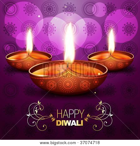 beautiful shiny vector diya on purple background