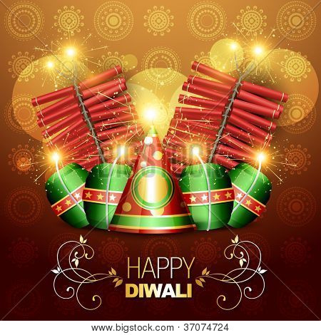 set of vector diwali crackers illustration