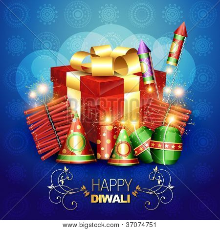 diwali crackers vector background illustration