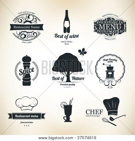 Bezeichnung set für Restaurant und café