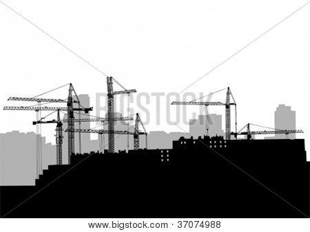 Vector image of construction cranes and buildings