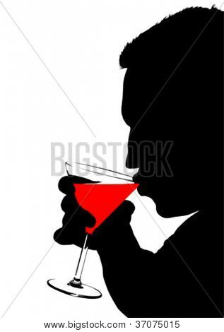 Vector drawing of a man with a glasses of martini