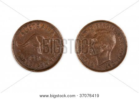 Old 1951 Australian half penny coin, front and back, isolated on white.  Pre-decimal copper.