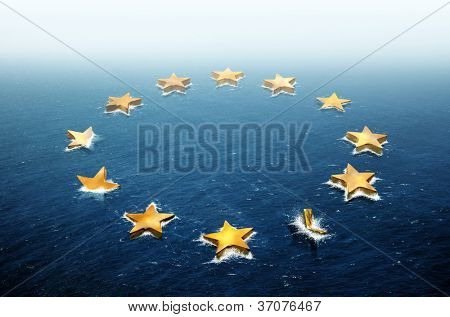 Conceptual image representing the stars of the European Union flag drifting and sinking in the ocean