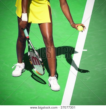 MELBOURNE, AUSTRALIA - JANUARY 23: Venus Williams serves during her third round match against Casey Dellacqua during the 2010 Australian Open on January 23, 2010 in Melbourne, Australia