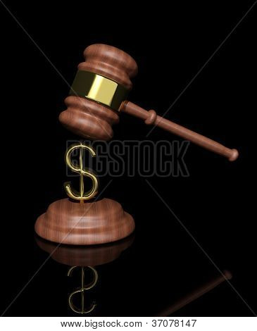 3d Judge's Gavel with dollar design