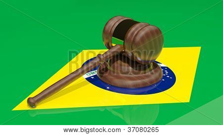 Gavel on the flag of Brazil