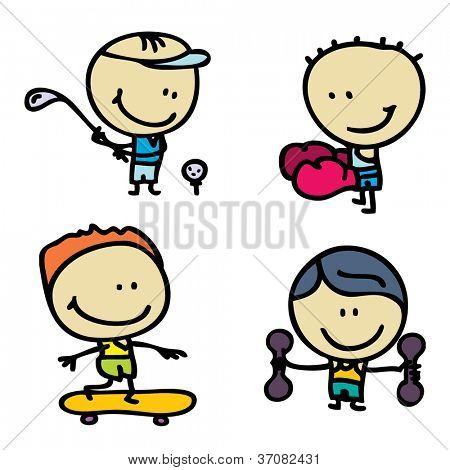 Doodle happy sport children