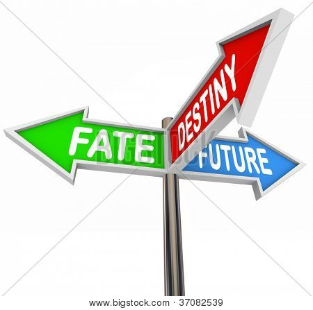 The words Fate, Destiny and Future pointing in different directions to show you the way forward to new possibilities and opportunities