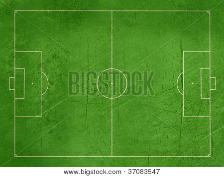 Grunge overhead view of soccer or football pitch with exact dimensions and copy space.