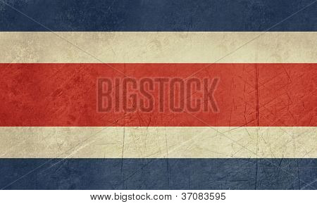 Grunge sovereign state flag of country of Costa Rica in official colors.