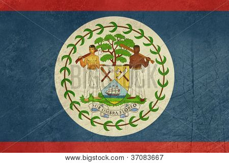 Grunge sovereign state flag of country of Belize in official colors.