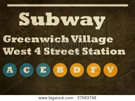 Grunge Greenwich Village West 4 street station subway sign isolated on white background, New York City, U.S.A.