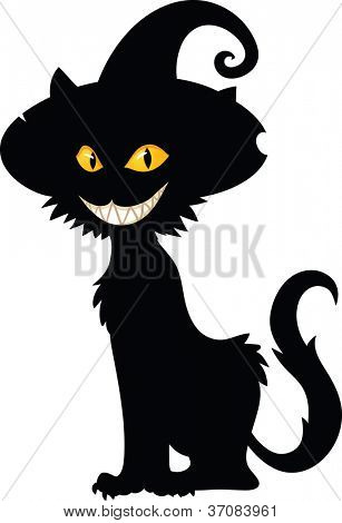 Halloween witch cat silhouette. Vector illustration with simple gradients. All in a single layer.