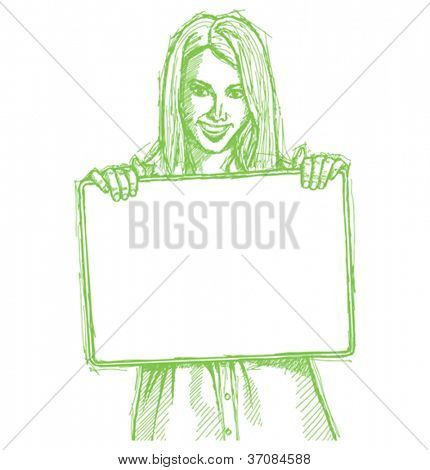 Vector Sketch, comics style happy business woman holding blank white card in her hands