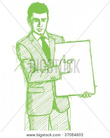 Vector Sketch, comics style businessman holding empty write board in his hands
