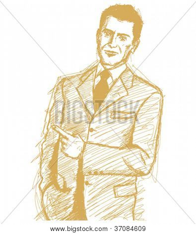 Vector Sketch, comics style business man shows something with his finger