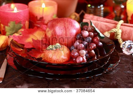 Place setting for Thanksgiving table
