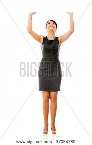 Business woman lifting something imaginary - isolated over a white background