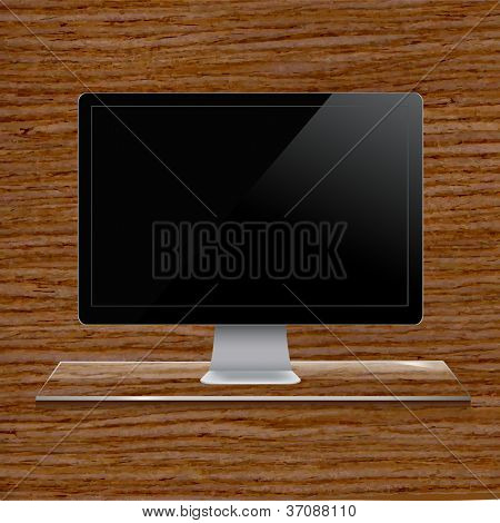 Glass Shelf With Computer, Wood Background, Vector Illustration