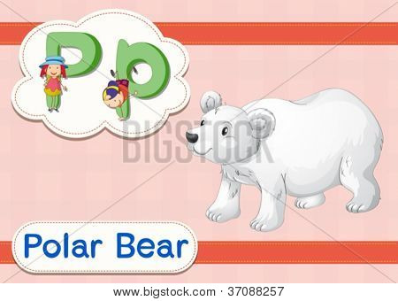 Illustrated vocabulary card with letters