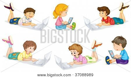 illustration of a kids with laptop on a white