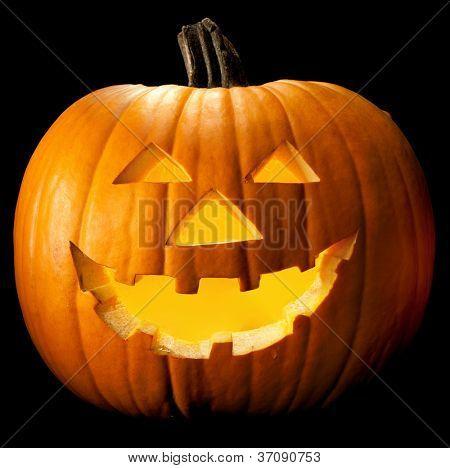 Halloween pumpkin head scary face with evil eye jack spooky and creepy horror lantern